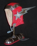 Leather and Art red helmet
