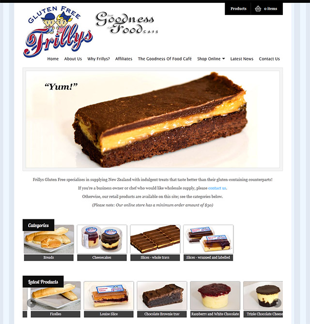 Frillys Gluten Free website