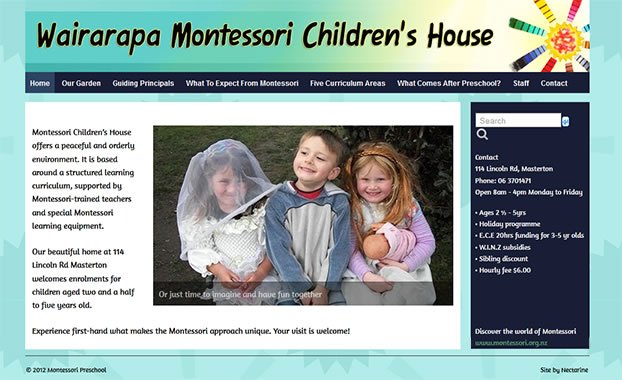 Wairarapa Montessori website by Nectarine