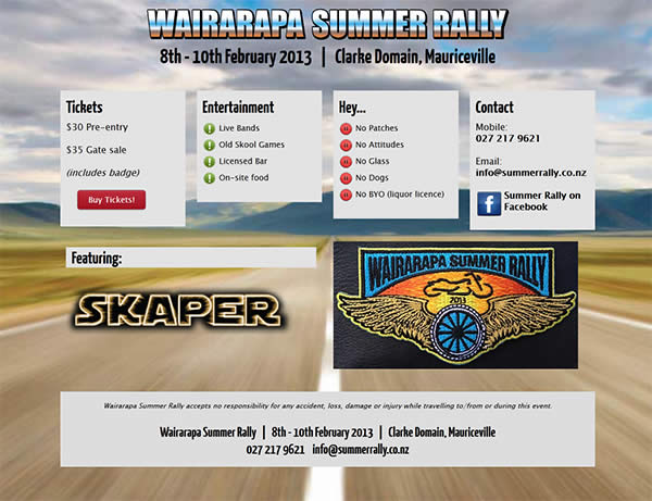 Wairarapa Summer Rally website - Nectarine Portfolio