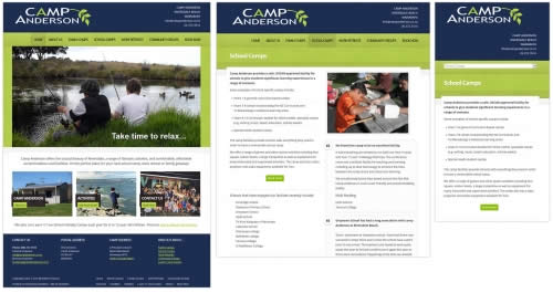 Camp Anderson - Home page, School Camps page, Mobile version