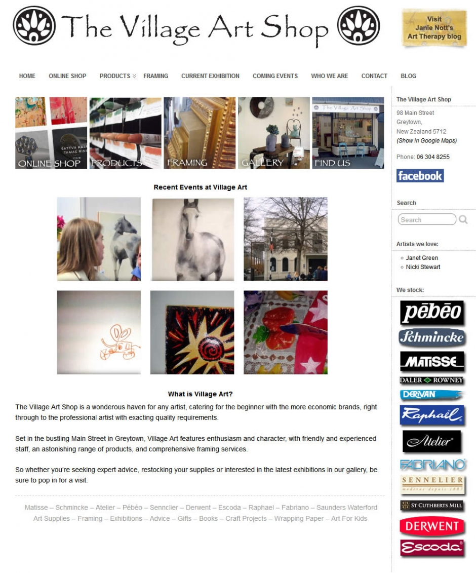 Village Art Home Page - Website By Nectarine