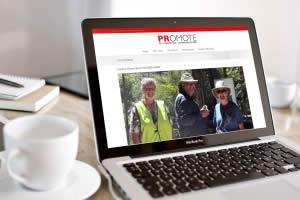 PRomote PR website on laptop