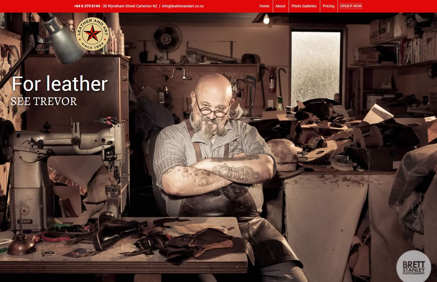 Leather And Art homepage - website relaunch By Nectarine