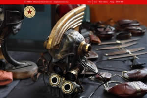 Leather And Art steampunk helmet- website relaunch By Nectarine