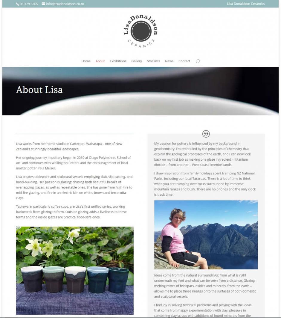 Lisa Donaldson Ceramics - Website by Nectarine - About