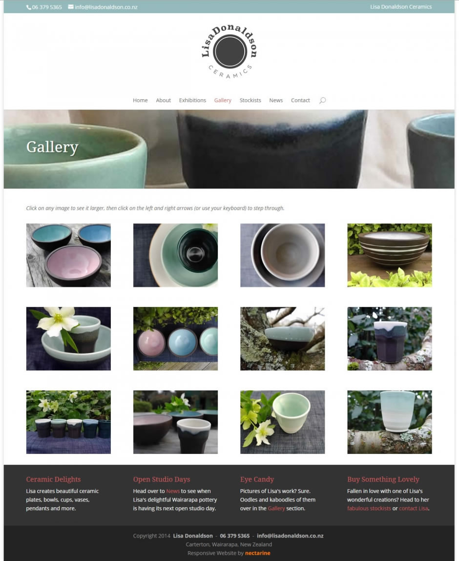 Lisa Donaldson Ceramics - Website by Nectarine - Gallery page