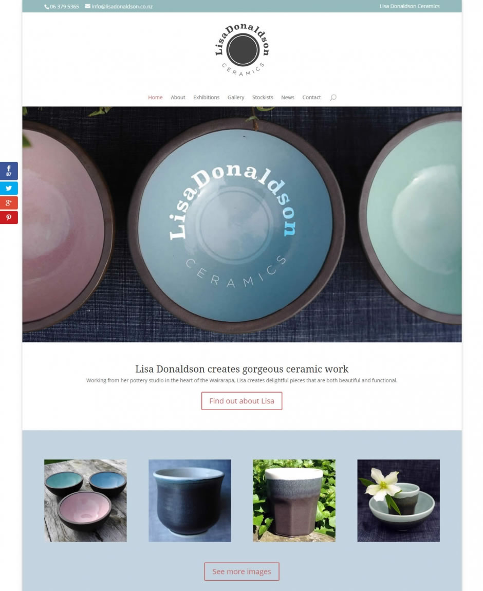 Lisa Donaldson Ceramics - Website by Nectarine - Home page
