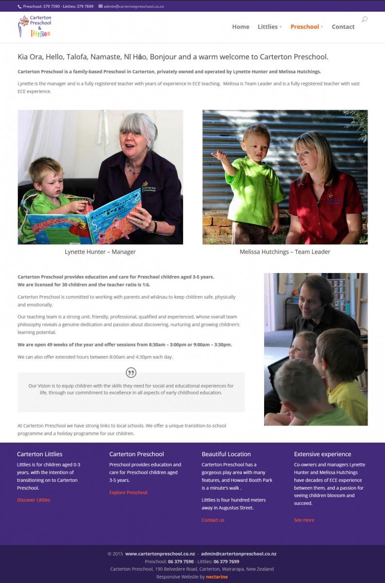 Caterton Preschool Nectarine Website Portfolio 2