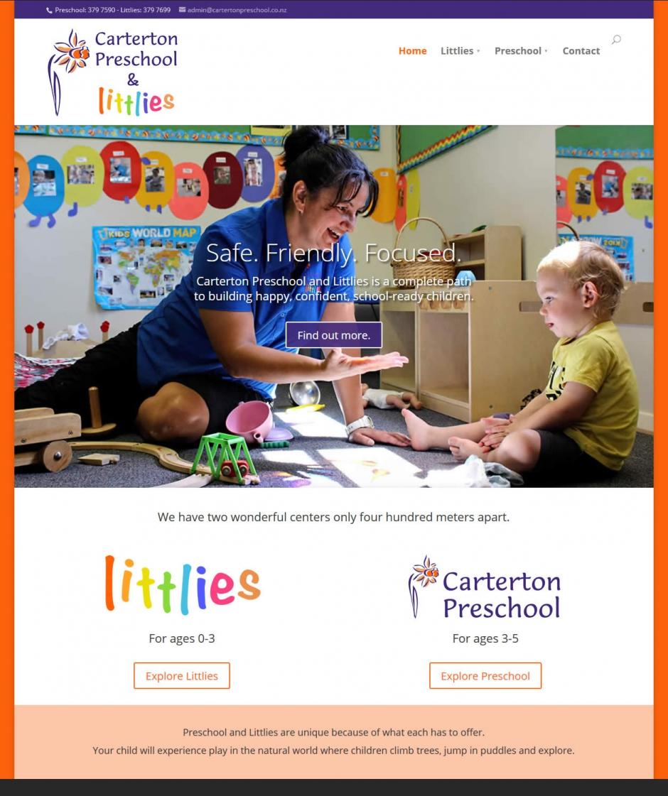 Caterton Preschool Nectarine Website Portfolio Home