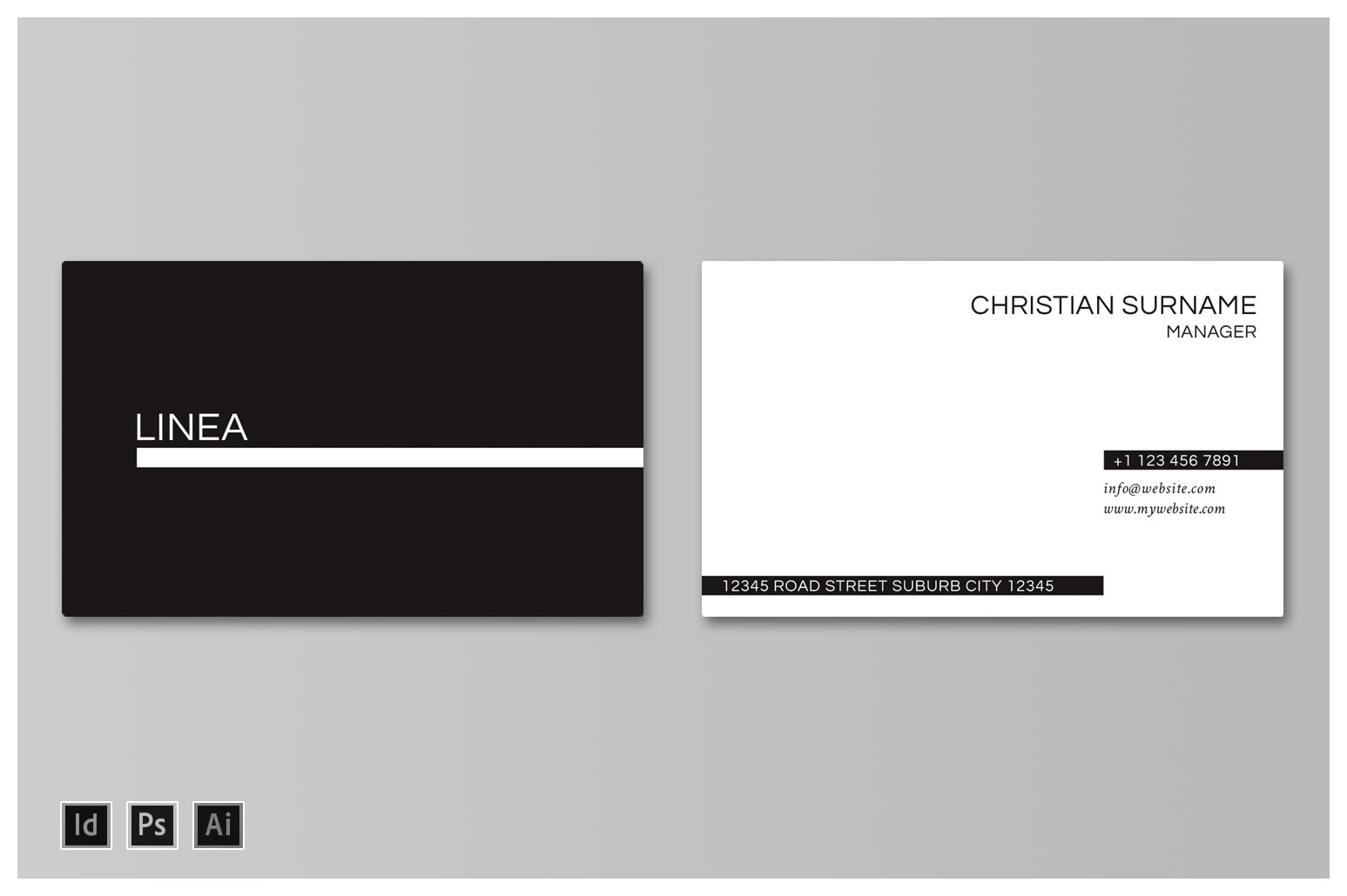 Linea Business Card Mockup Landscape