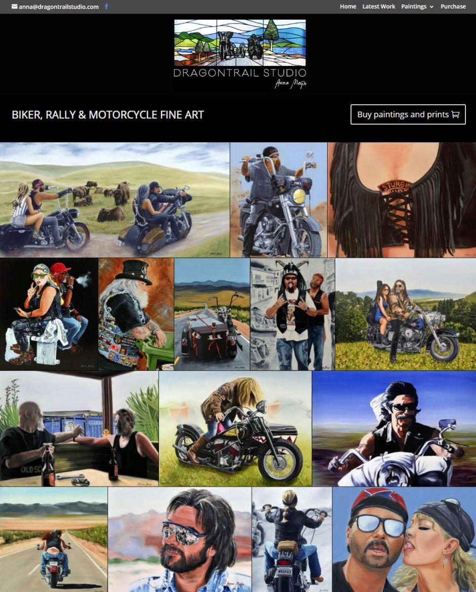 Dragontrail Studio Biker Paintings Nectarine Website Portfolio