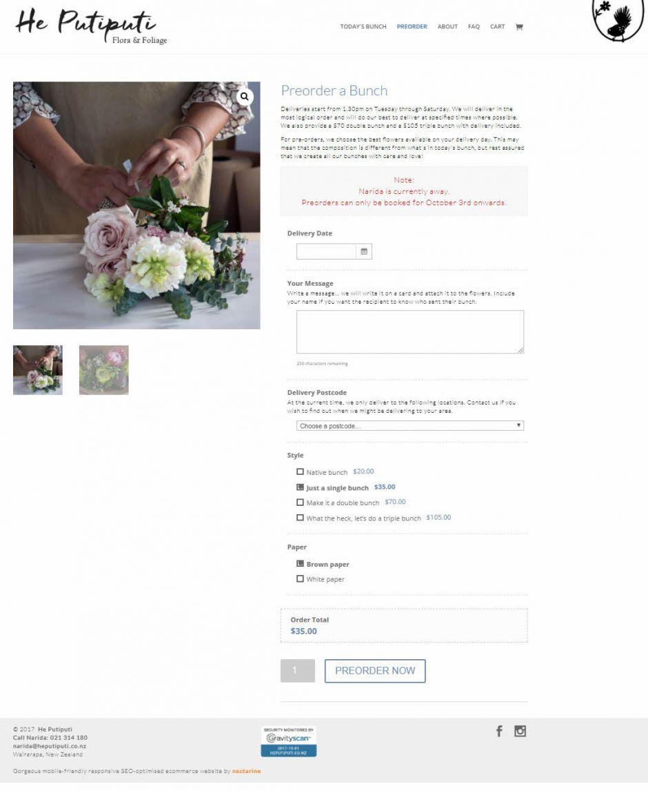 He Putiputi Flowers Order Nectarine Website Portfolio