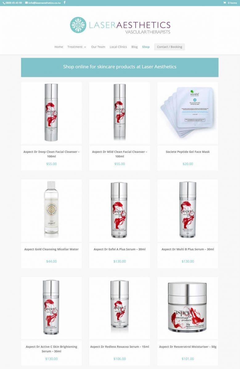 Laser Aesthetics Shop Nectarine Website Portfolio