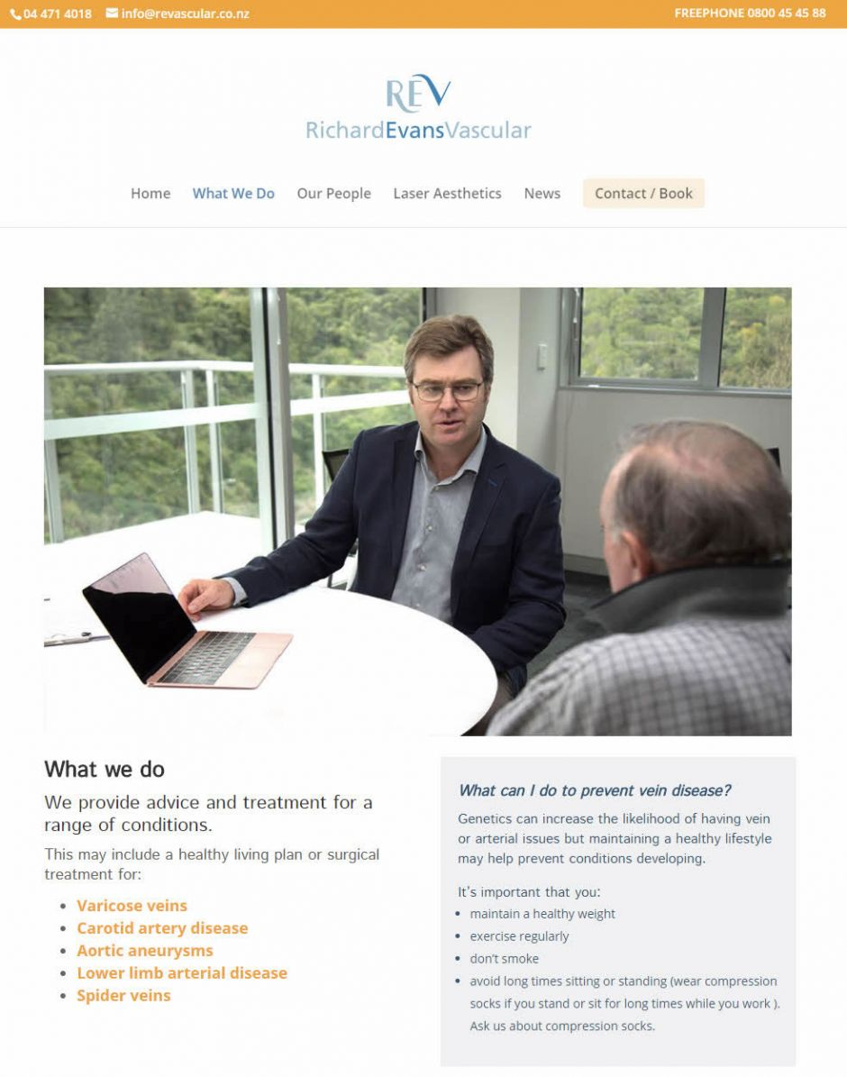 Richard Evans Vascular REV What We Do Nectarine Website Portfolio