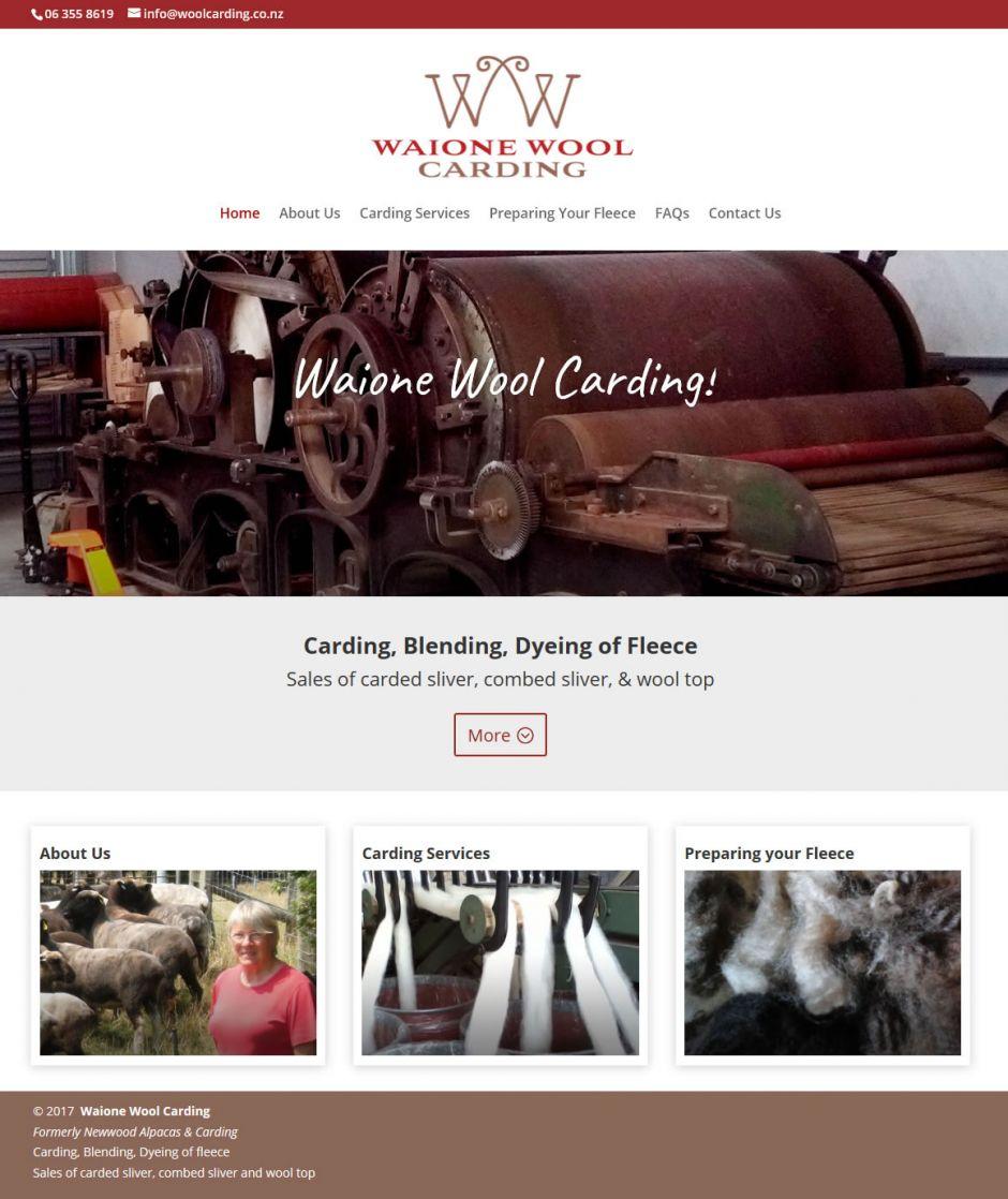 Waione Wool Carding Home Nectarine Website Portfolio