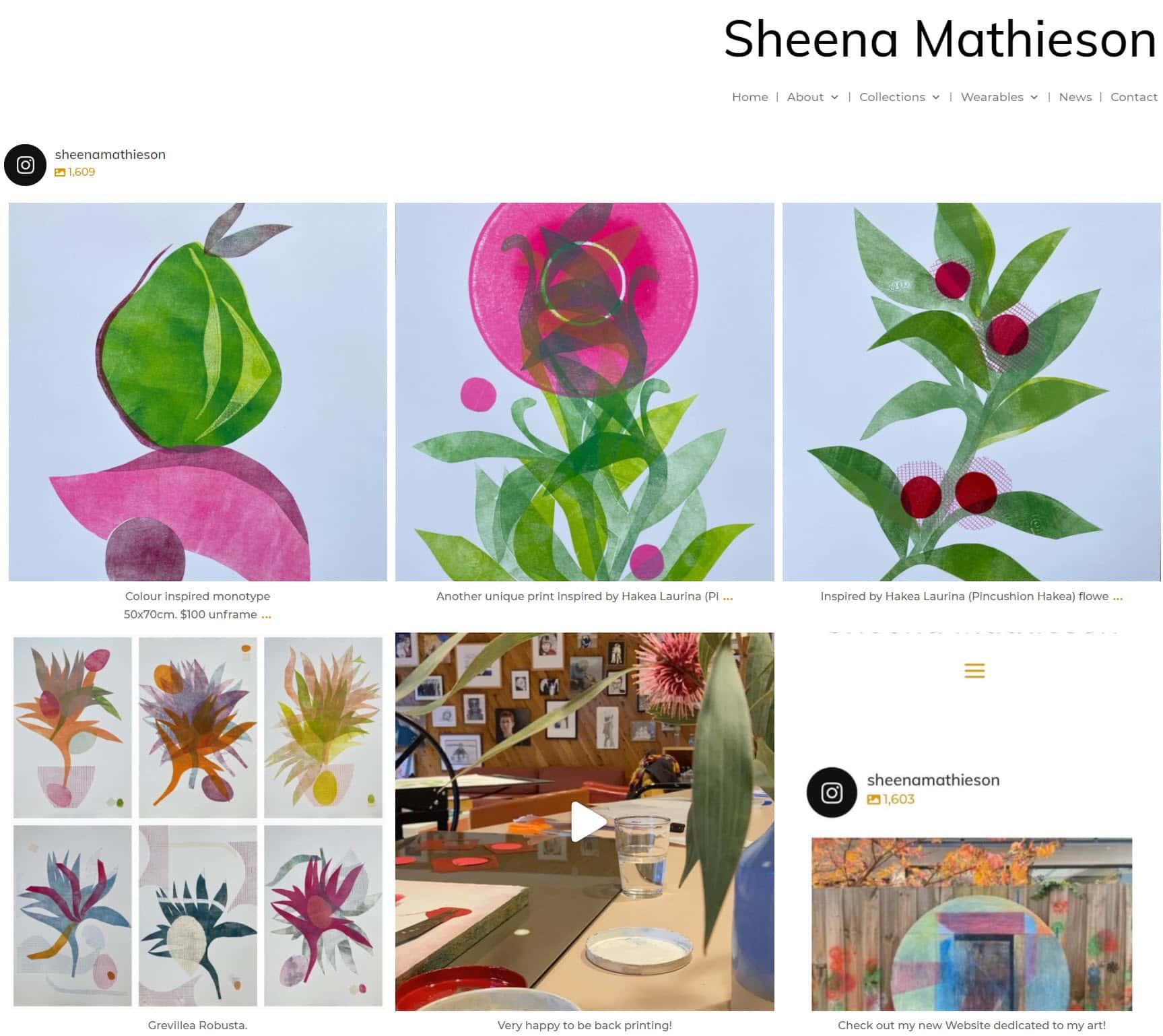 Sheena Mathieson Artist Home Page Nectarine Portfolio